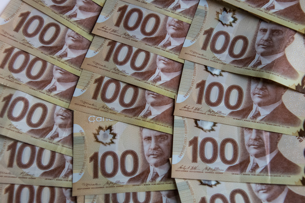 A photo of Canadian money.