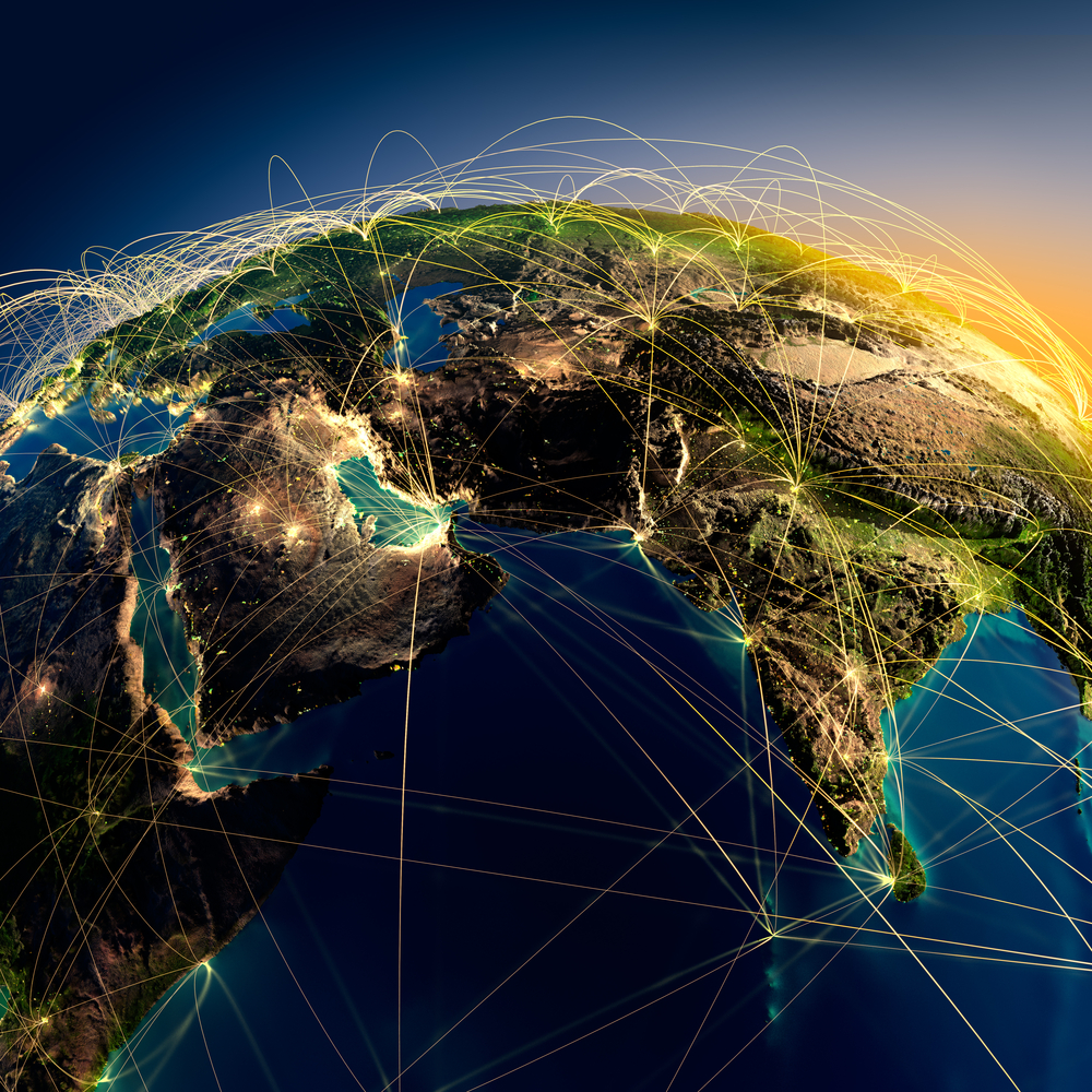 The various continents on planet Earth illuminated by a network of lights. The concept represents connectivity made possible by technology.